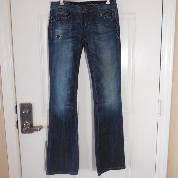 Express Denim - ReRock for Express Bootcut Jeans Dark Blue